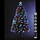 Sapin de Noël artificiel lumineux avec fibre optique + 88 LED MULTICOLORE + 8 Jeux de lumière - livré avec son pied - Hauteur 90 cm - Féerique !