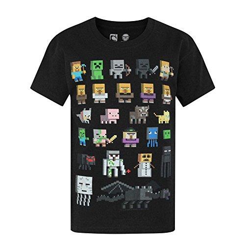 Camiseta para chicos de Minecraft Negro negro 11-12 Años