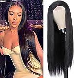 YEESHEDO Pelucas mujer peluca larga recta negra pelo natural rayita de encaje...
