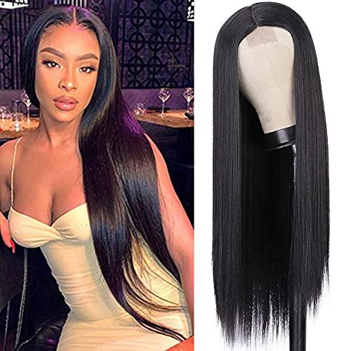 YEESHEDO Damen Schwarze Perücke Natürliche Spitze Haaransatz Lange Gerade Natürlich Farbe Brasilianisches Glattes Haar 150% Dichte Nein Lace Front Black Wig für Frauen 26 Zoll (Schwarz)
