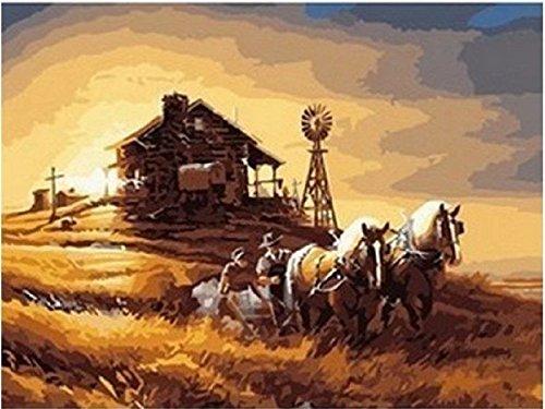 Dorara DIY Ölgemälde für Erwachsene Kinder malen nach Zahl Kit Digital Ölgemälde Pferd bedeckt Wagon Ernte Terry Redlin 16x20 Zoll