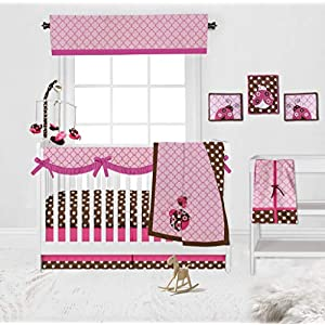 Bacati Lady Bugs 10-Piece Nursery-in-A-Bag Crib Bedding Set with Long Rail Guard for Girls, Pink/Chocolate