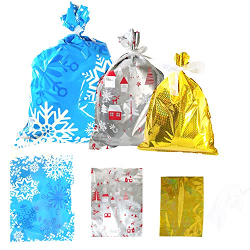 18PCS Christmas Snowflake Drawstrings Gift Bag Winter Wonderland Wrapping Treat Bags with 3 Design Snowflake Frozen Party Favor Goodie Bags for Birthday Hanukkah,Christmas Party,New Year Eve Holiday Decor