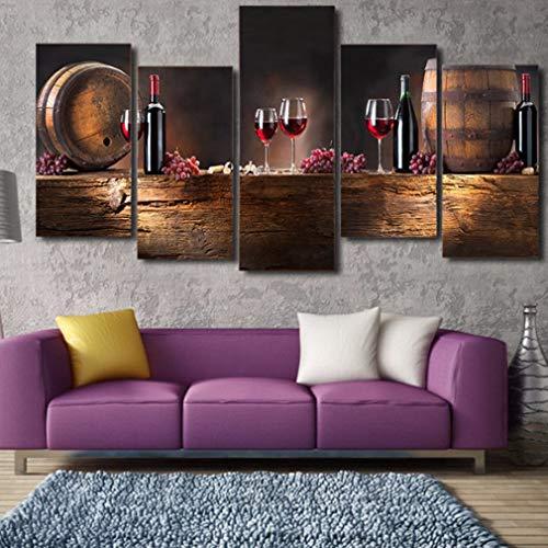 MINRAN DECOR Impresión en Lienzo para Muro Pinturas Enmarcar 6 Piezas Cuadros Vino Tinto Modernos Cuadro Salon Dormitorios Obra de Arte Decoración del hogar, 30 * 60 * 4+30 * 80 * 1(Frameless)