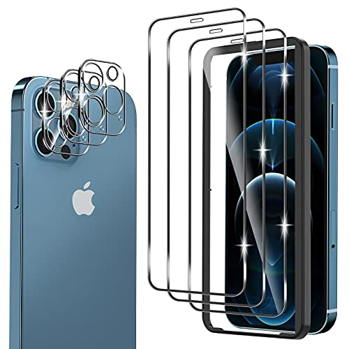 omitium 6 Pack Protector Pantalla Compatible con iPhone 12 Pro, 3 Pack...