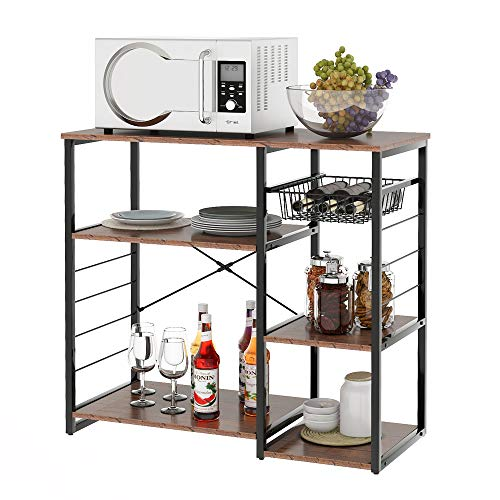 LOKOER Estantería de cocina para microondas con soporte para copas de vino, 3 niveles + 4 niveles para especias y ollas