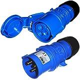 IEC/CEE 16A - Juego de enchufes y acopladores (3 polos, 2P + E, 230 V), color azul...
