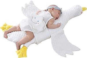 Goenjoy White Goose Stuffed Animal Plush Toy Pillow, Baby Soothing Pillow for Kids, Boy, Girls - Great for Kids Birthday ,Nursery, Room Decor (Yellow + peans)