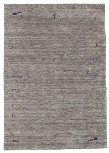 CarpetVista Teppich Gabbeh Loom Frame, Kurzflor, 160 x 230 cm, Rechteckig, Modern, Wolle, Schlafzimmer, Wohnzimmer, Grau