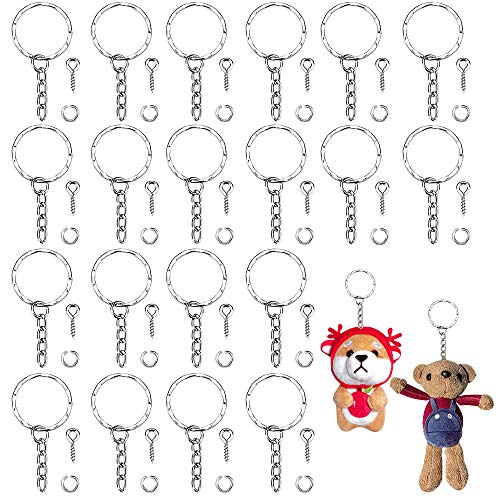 TANCUDER 50 Pcs Key Chain Rings Metal Split Keyrings Silver Key Ring Bulk Keyring Blanks with Link Chain 50 Pcs Open Jump Rings and 50 Pcs Screw Eye Pins Set for DIY Art Craft Jewellery Making