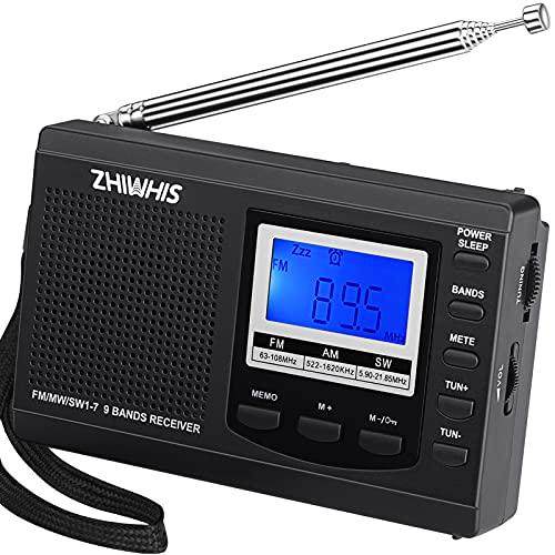ZHIWHIS ラジオ 小型ポータブル FM/AM/SW ワイドfm対応 高感度受信クロックラジオ スピーカーとイヤホン付き タイマー機能 キーロック機能 USB電池式 横置き型 (ブラック