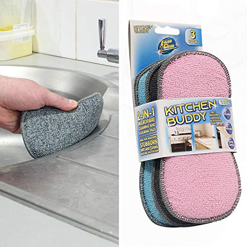 Ossian Pack of 3 Kitchen Buddy Scrub Pads – Dual Action 2 in 1 Durable Reusable and Long Lasting Microfibre Cleaning Cloth Sponge for Removing Stubborn Dirt and Grime Around the Home Kitchen