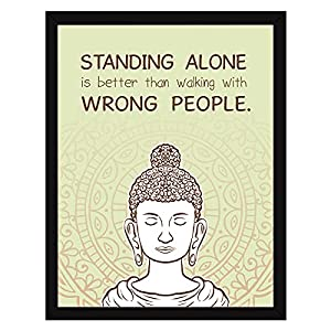 Chaka Chaundh – Suitable buddha quotes wall frames - Buddha frame with quotes for home & office - inspirational Motivational Gautam buddha quotes with frame - (13.5 X 10.5) (Beige)
