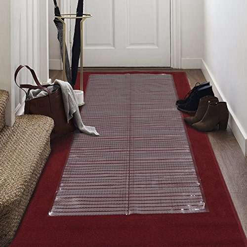 Ottomanson Multi Grip Ribbed Carpet Protector Runner , 26' X 6', Clear