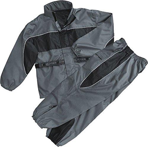 Milwaukee Men's Riding Motorcycle 100% Nylon RAIN Suit Gear Black/Grey W/ (2XL Regular)