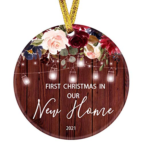 Kooer 2020 First Christmas in Our New Home Ornament 1st Year Married Newlyweds 3' Flat Circle Porcelain Ceramic Wedding Ornament (New Home)