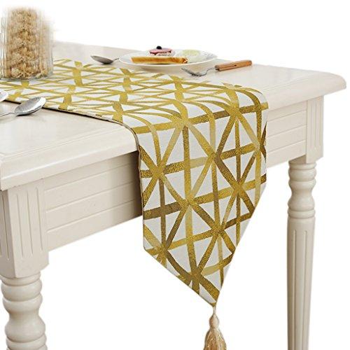 Europea de lujo de moda de mezcla de mesa de corredor de té de tela de tela-paños decorativos-Long Table Cloth-Hotel, decoración casera, Casual Essentials comedor, fiesta, amarillo -Max Home ( Tamaño : 32*200cm )