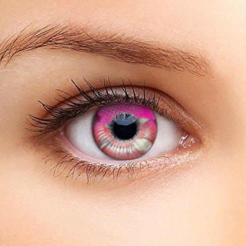 Farbige Kontaktlinsen HEROES OF COSPLAY COMIC ANIME Serie für Cosplay, GUT DECKEND, AUSDRUCKSSTARK, BEQUEM zu tragen (Pink Rosa)