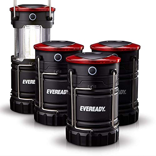 Eveready 360 LED Camping Lantern, IPX4 Water Resistant, Super Bright, 100 Hour Run-time, Battery Powered Outdoor LED Lantern, Black (4 Pack)