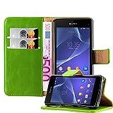 Cadorabo Hülle für Sony Xperia Z1 COMPACT - Hülle in Gras GRÜN – Handyhülle im Luxury Design mit Kartenfach & Standfunktion - Hülle Cover Schutzhülle Etui Tasche Book