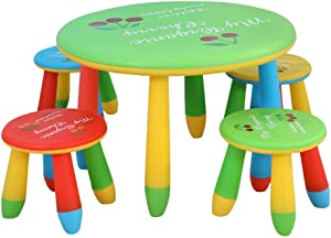 EXCLVEA-TCS Baby Activity Table- Kids Table And Chair Set Kids Toddler Furniture For Dining Painting Reading Playroom Baby Play Table  Color Green  Size 70x47 28x25cm