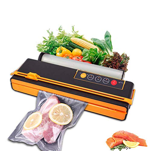 Vacuum Sealer Food Saver air seal sealing system sous vide cooker Fruits Meat Fish Coffee Wine Containers Preservation Sealer Vacuum Packing Machine Own Cutting Knife Bag Slot Multi-Function Vacuum Food Machine One Roll of Bags (Orange)