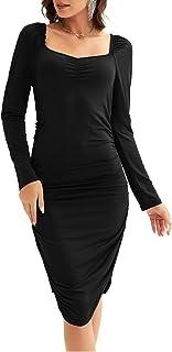 Womens Long Sleeve Pencil Work Dress Ruched Uneck Dress...