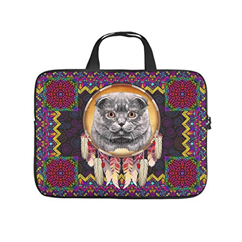 Native American Cat Laptop Messenger Bags Laptop Bags Gifts for Men Women White 12inch