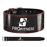 ProFitness Dark Leather Workout Belt (4 Inches Wide) – Proper Weightlifting Form – Lower Back and Lumbar Support for Cross Training Exercises, Powerlifting Workouts, Deadlifts (Black/Red, Medium)