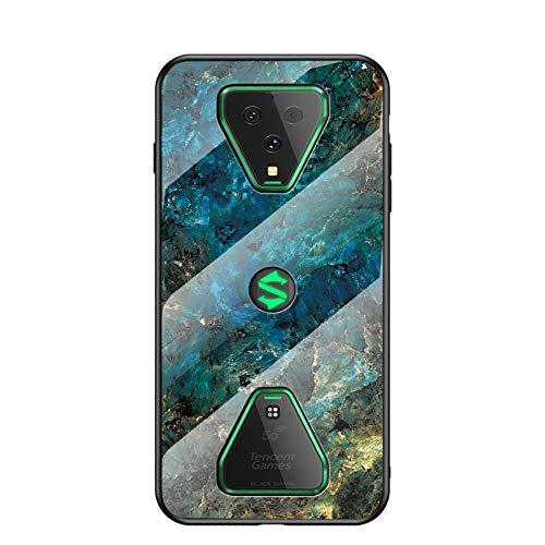 Hülle für Xiaomi Black Shark 3 Hülle,Marmor Gehärtetem Glas und Silikon Rand Hybrid Hardcase Stoßfest Kratzfest Handyhülle Dünn Hülle Handyhülle für Xiaomi Black Shark 3 (Blau)