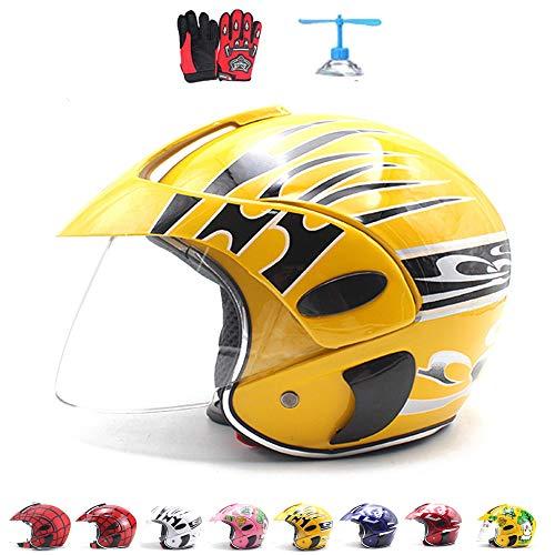 ZJRA Motocross-Helm für Kinder, Motorradhelm für Kinder, Jungen und Mädchen, Fahrrad, Scooter, Outdoor Sports, Sonnenschild, Geschenk, für 3-10 Jahre alt, 48~52 cm,Gelb