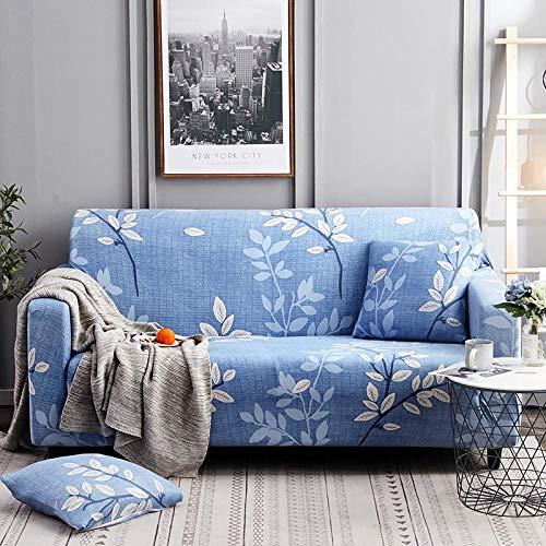 Funda Sofá 190-230 cm con Funda de Cojín de 3 Piezas 45x45 cm (Pack de 4), Poliéster Stretch Cubre Sofá Funda Protector Antideslizante Sofa Couch Cover (Planta Azul/3 Asientos)