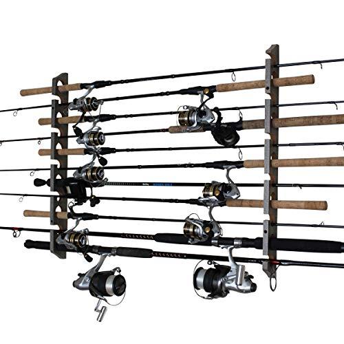 Rush Creek Creations 11 Fishing Rod Storage Wall, Ceiling, or Garage Mount Rack, Barn Wood
