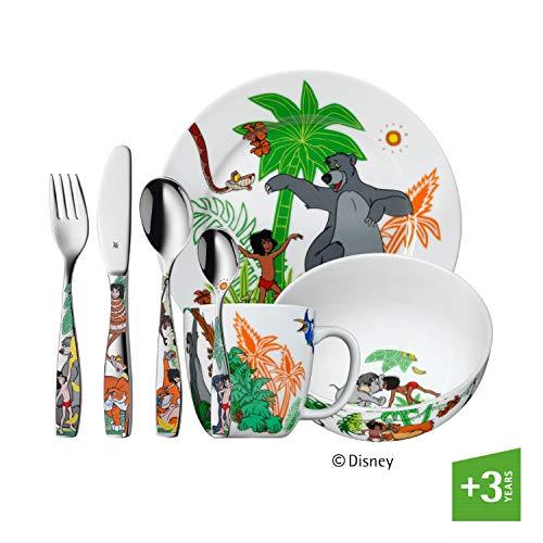 WMF Disney Dschungelbuch Kindergeschirr, mit Kinderbesteck, 7-teilig, ab 3 Jahren, Cromargan Edelstahl poliert, spülmaschinengeeignet, farb- und lebensmittelecht