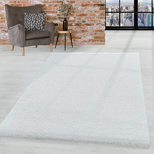 HomebyHome Shaggy Hochflor Teppich Wohnzimmerteppich Flor Super Weich Farbe Weiss, Farbe:Weiss, Grösse:240x340 cm
