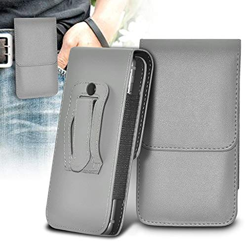 ONX3 Grau vertikale Tasche Kunstleder gürtel Handy Tasche case Abdeckung mit magnetverschluss kompatibel mit Wiko Fever Special Edition