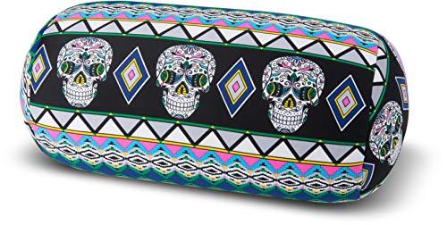 Kuschel-Maxx Nackenrolle mit Mikroperlen in 19 Farben - Öko tex Standard 100 - Skull, schwarz, 33x17, 5251