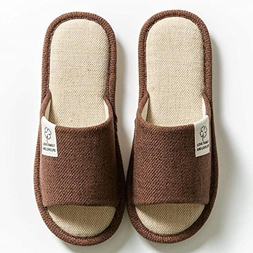 Zapatillas de espuma viscoelástica cómodas para hombre, zapatillas de algodón antideslizantes cálidas, algodón interior para el hogar-Brown_6.5-7, zapatillas de felpa de espuma viscoelástica para mu