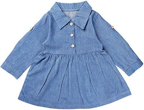 Ming s Toddler Baby Girls Denim One Piece Dress Long Sleeves Playwear Blue Shirt Skirt Button product image