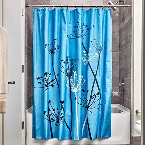 iDesign Thistle Duschvorhang | 183,0 cm x 183,0 cm großer Badewannenvorhang | waschbarer Duschvorhang aus weichem Stoff | mit Blumen-Motiv | Polyester blau/schwarz