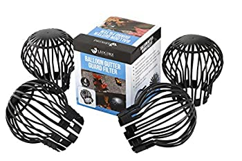 LEOCORZ Down Pipe Balloon Gutter Guard Filter   Fits Rain Gutter Downspouts Any Shape 1-4 inches   K-Style Round Square or Corrugated   4 Pack   Best Strainer Trap to Prevent Leaf Debris Blockage