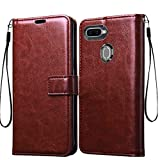 Frazil Vintage Leather Flip Cover Case for Oppo F9/F9 Pro/A5/A5s/A7/A11k/A12/Realme 2/2 Pro/U1 | Inner TPU | Foldable Stand | Wallet Card Slots - Chestnut Brown