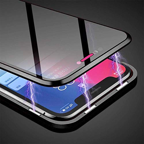 Anti-peep Magnetic Case for iPhone 7 Plus iPhone 8 Plus, HAPO 5.5 inches Anti-Spy Tempered Glass Phone Cases Cover,Anti Peeping Adsorption Privacy Screen Protector (Black)