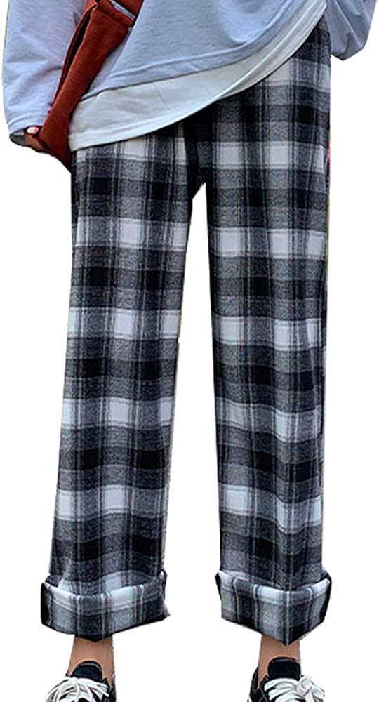 Womens Tie High Waist Casual Plaid Print Pants Youth Girls Loose Fit Long Straight Tartan Pant with Pockets