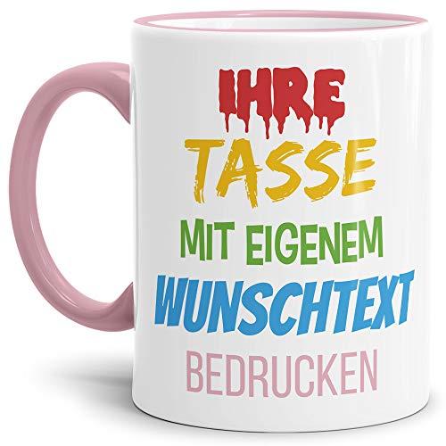 Tasse selbst gestalten/mit eigenem Text beschriften/Wunsch-Name/Spruch-Tasse/Rand & Henkel Rosa/Links & Rechts vom Henkel Bedruckt