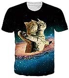 RAISEVERN Unisex Short Sleeve Titanic Cats 3D Printed Cool Crew Neck Galaxy T-Shirt Space Funny Tees Blue Black
