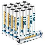 iEGrow Micro AAA Akku NI-MH Akkubatterien 1100 mAh 16 Stück, geringe Selbstentladung, wiederaufladbare Batterie