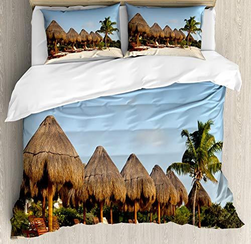 ABAKUHAUS Cacun Funda Nórdica, Playa del Carmen Playa Imagen, Estampado Lavable, 3 Piezas con 2 Fundas de Almohada, 230 cm x 220 cm, Pale Blue Sky Multicolor