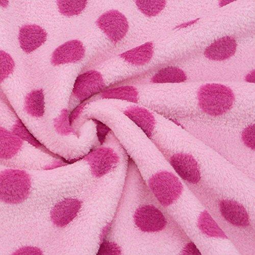Wellness Fleece Stoff Meterware Punkte rosa pink pinken Punkte