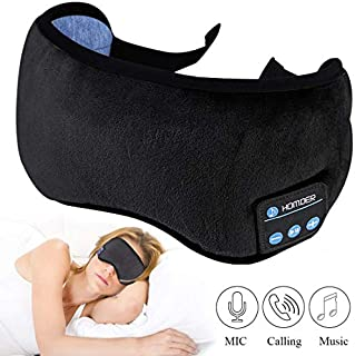 Homder Sleep Headphones Bluetooth 5.0 Eye Mask for Men Women, Noise Cancelling Sleeping Mask Block Light, Soft Comfort with Adjustable Strap for Sleeping, Travel, Washable